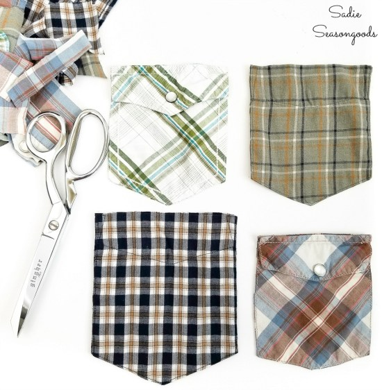 Upcycling the pockets from mens shirts as DIY gifts for Dad