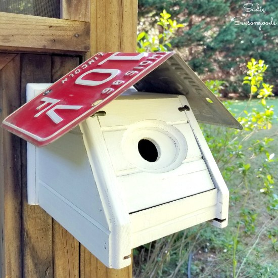 How to build a DIY bird house or chickadee bird house by upcycling a tissue box holder and license plate for the roof
