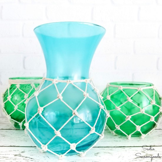 Glass fishing floats or nautical glass balls for coastal home decor