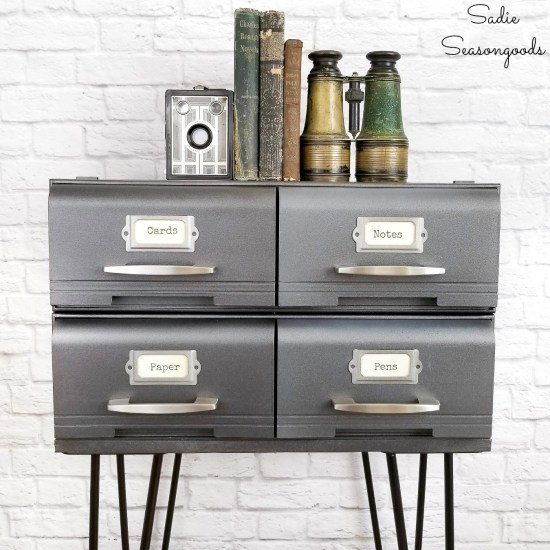 Industrial side table from VHS storage