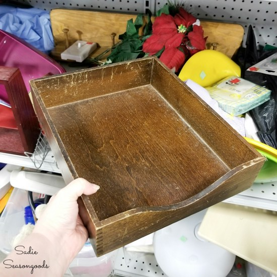 Wooden paper tray at a thrift store for lake decor