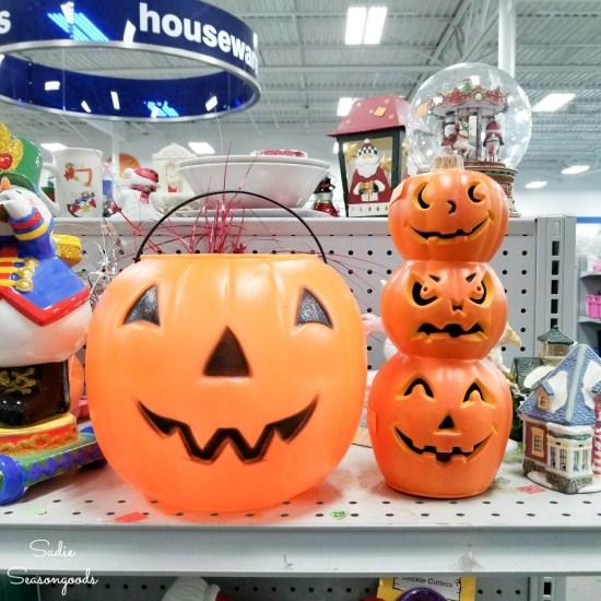Plastic jack o lantern and plastic pumpkins
