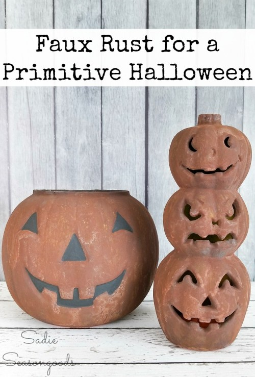 Rust effect paint by Modern Masters for a primitive Halloween