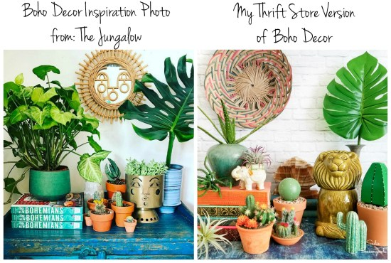 Boho Decor by The Jungalow and a version with thrift store decor