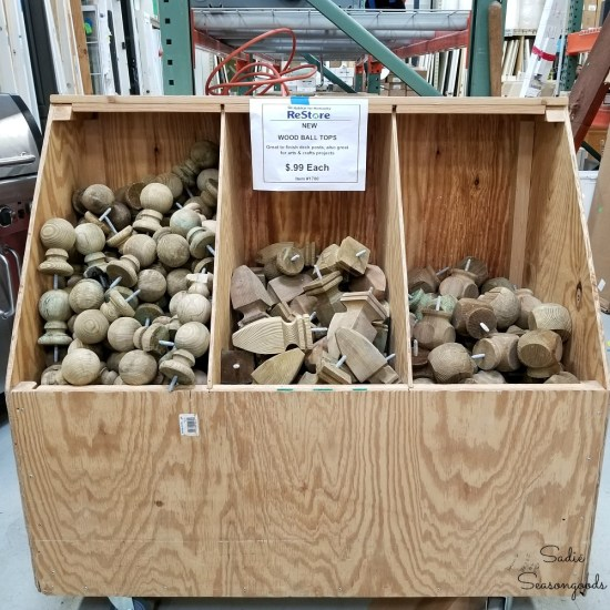 Post caps or wood finials at Habitat Restore for upcycling ideas