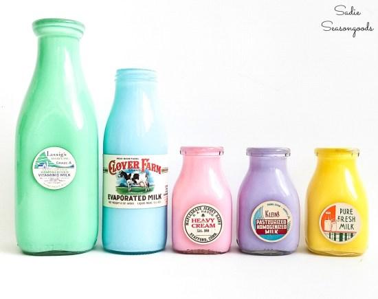 Milk tops on vintage milk bottles to use as flower vase ideas for Spring decor