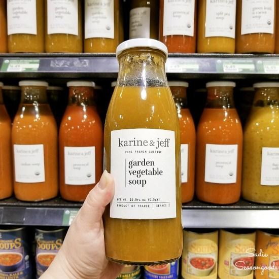 Soup at Fresh Market that comes in a glass milk bottle for upcycling ideas