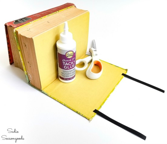 Upcycling books into photo frames for book decor