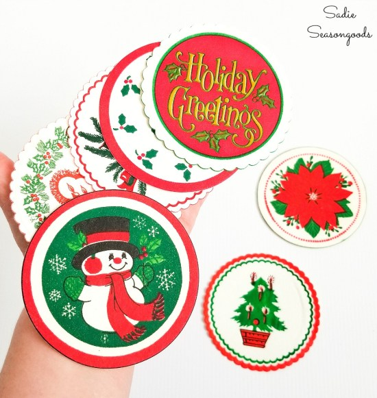 Christmas coasters to decoupage on wood ornaments for vintage Christmas decorations