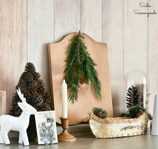 Winter cabin or log cabin decor that is rustic chic and came from the thrift store with upcycling