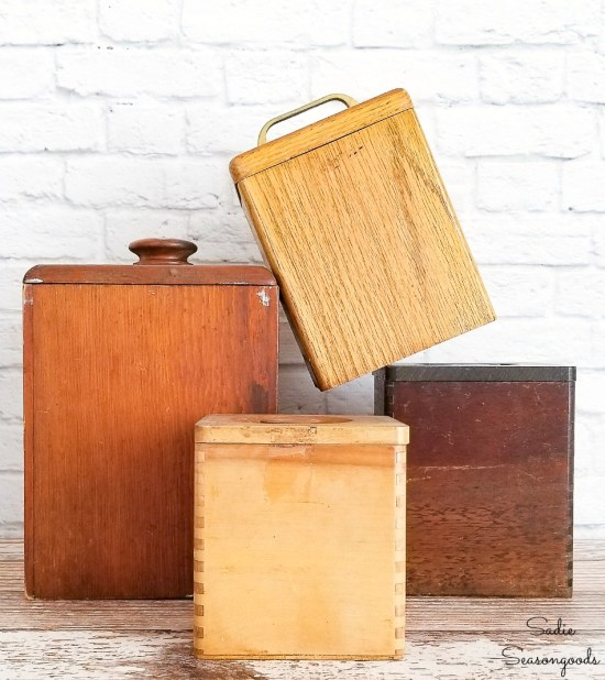 Upcycling the wooden canisters into tea and coffee canisters for a retro kitchen