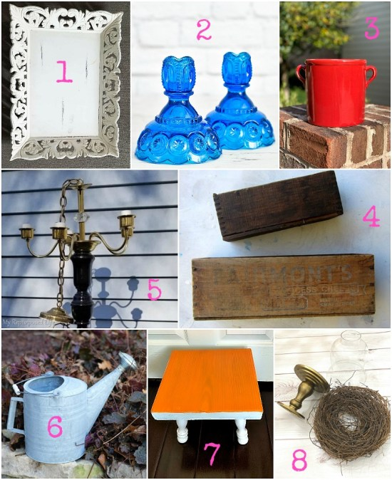Recycling craft ideas with thrift store decor by the best upcycling bloggers