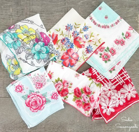 Vintage handkerchiefs for upcycling into cloth bracelets