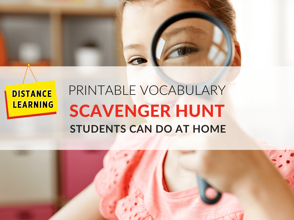 Distance Learning For Students Vocabulary Scavenger Hunt