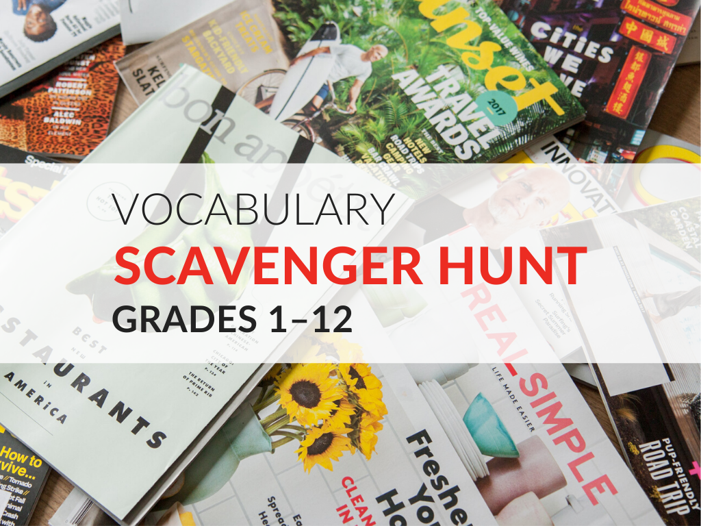 Vocabulary Scavenger Hunt Activity Grades 1 12 Free