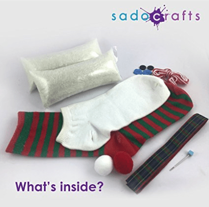 SadoCrafts Sew Your Own Stuffed Animal - DIY Snowman Sock Doll Sewing Craft Kit for Kids