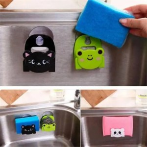 FREE SHIPPING Cartoon Dish Cloth Sponge Holder With Suction Cup For Kitchen Multifunctional Storage Organizer Cartoon