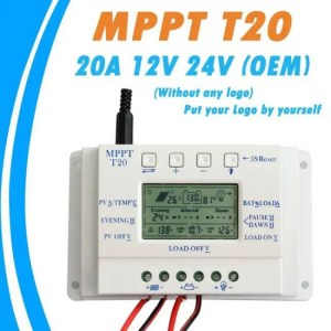 FREE SHIPPING OEM LCD Display 20A MPPT 12V/24V Solar Panel Battery Regulator Charge Controller without Any Logo On Surface T20 LCD Wholesales cleanenergy