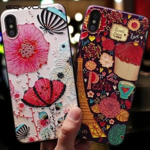 Phone Cases Soft Silicone Cover 3D Emboss Cartoon Patterned Phone Case For iphone X iphone8 iphone7 iphone 6S Plus 3D