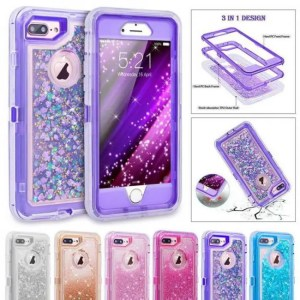 Phone Cases 3D Glitter Shockproof Phone Cases For iPhone8 Plus iPhoneX Dynamic Quicksand Covers 3D