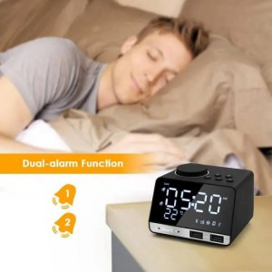 Clock Digital Alarm Clock with Bluetooth Radio Alarm Speaker LED Display Temperature Home Decoration Alarm