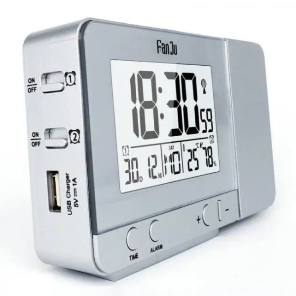 Clock Projection Alarm Clock with Temperature and Time Projection / USB Charger/ Indoor Temperature and Humidity Alarm