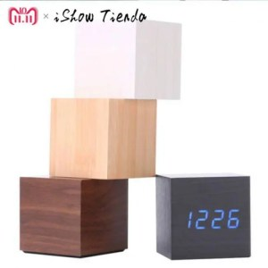 Clock Multicolor Wooden LED Digital Desk Clock Alarm Thermometer  Decorative Alarm