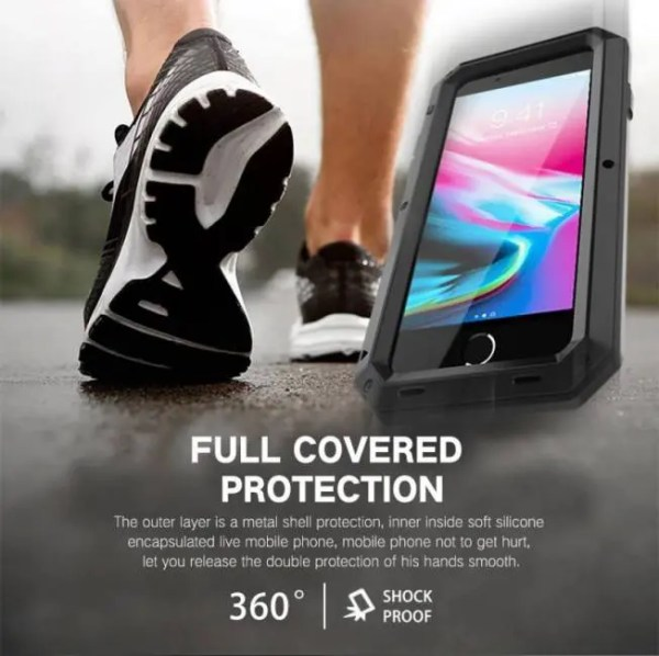 Phone Cases Heavy Duty Protection Armor Metal Aluminum Phone Cases for iPhone 6 6S 7 8 Plus X  Shockproof Dustproof Cover 6