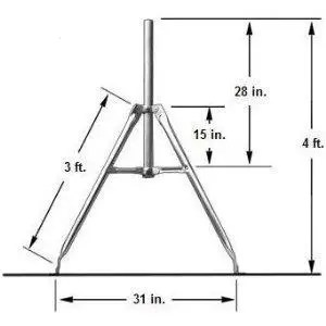HD Antennas 3′ Self Supporting Tower with 28″ x 2″ dia pole mast antenna