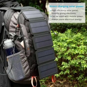 FREE SHIPPING Portable Folding 10W Solar Panels Charger for Outdoors angle