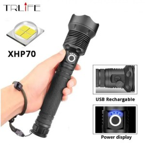 Flashlights & Lightings XHP70 / XHP50  LED Torch Aluminum alloy Zoomable Tactical Defense Flashlight Battery