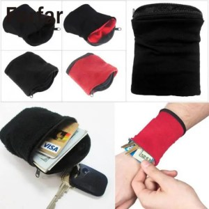 FREE SHIPPING High Quality Wrist Wallet Pouch Fleece Zipper Outdoor Camping Tool Accessiories