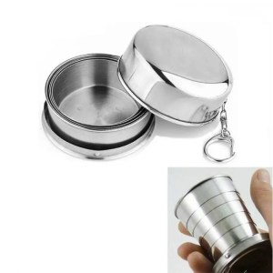 FREE SHIPPING Stainless Steel Folding Cup Kit Survival EDC  Portable for Camping Hiking Lighter Camping
