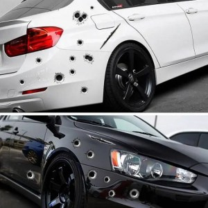 Accessories Funny Car Stickers 3D Bullet Hole Styling Motorcycle Scratch Realistic Bullet Hole Waterproof Stickers 3D