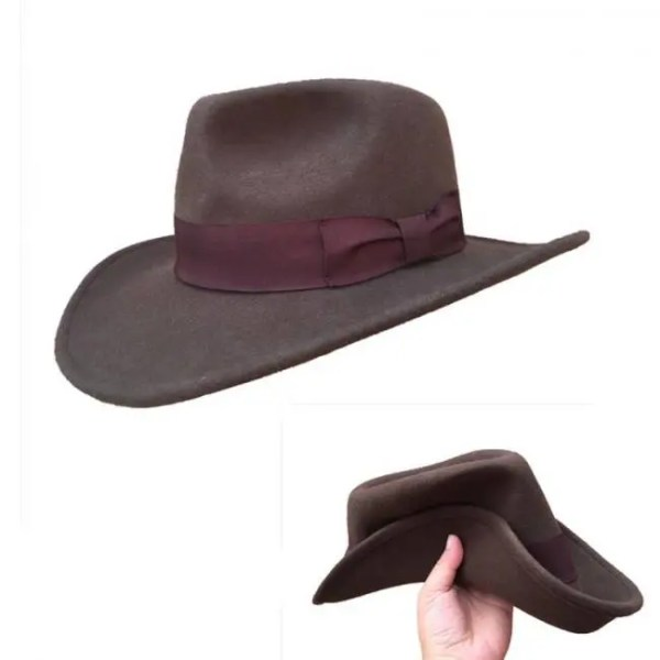 FREE SHIPPING Wool Felt Brown Crushable Outback Cowboy Hat Wool