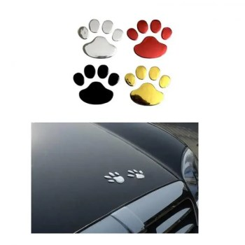 FREE SHIPPING Car Sticker Cool Design Paw 3D Animal Dog Cat Bear Foot Prints Footprint 3M Decal Car Stickers Silver Gold Red 3D