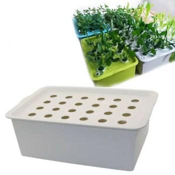 FREE SHIPPING 24 Holes Plant Site Hydroponic Kit Garden Pots Planters Seedling Pots Indoor Cultivation Box Grow Kit Bubble Nursery Pots 1 Set Basket