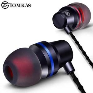 Earphones Tomkas In-ear Earphone For Mobile Phone Earphones 5 Colors 3.5mm In Ear Sport Micro Earphone For iPhone Xiaomi With Mic Free shipping