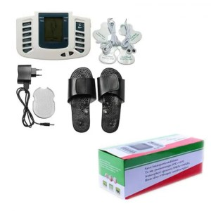 FREE SHIPPING Whole Body Therapy Massager Tens Unit Machine Electronic Pulse Relax Muscle Stimulator + Foot Massage Slippers Box Packing Body