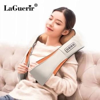 FREE SHIPPING LaGuerir Home Car U Shape Electrical Shiatsu Back Neck Shoulder Body Massager Infrared Heated Kneading Car/Home Massagem back