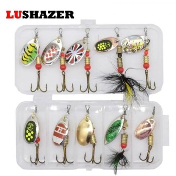 FREE SHIPPING 10pcs/lot LUSHAZER fishing spoon lures spinner bait 2.5-4g fishing wobbler metal baits spinnerbait isca artificial free with box 2019
