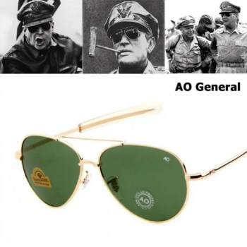 FREE SHIPPING JackJad Army MILITARY MacArthur Aviation Style AO General Sunglasses American Optical Glass Lens Men Sun Glasses American
