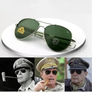 Car & Motorbike HBK Army MILITARY MacArthur Aviation Style AO General Pilot American Optical Glass Lens Men Sun Glasses Oculos De Sol K40024 American