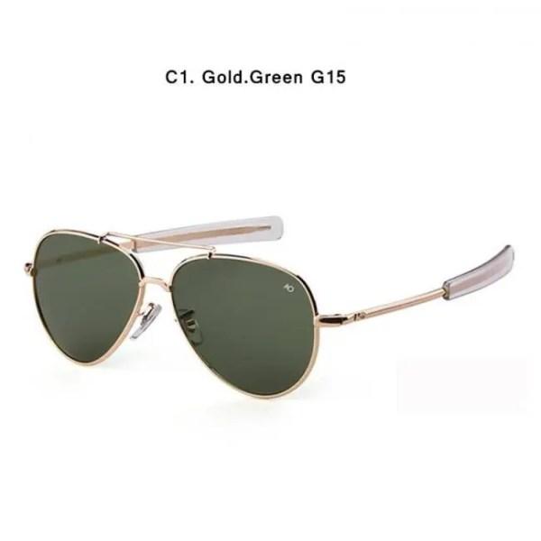 Car & Motorbike HBK Army MILITARY MacArthur Aviation Style AO General Pilot American Optical Glass Lens Men Sun Glasses Oculos De Sol K40024 American
