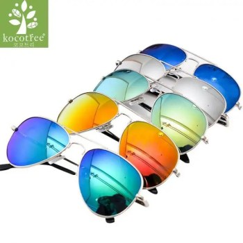 FREE SHIPPING Kocotree Fashion Kids Aviator Sunglasses Kids Boys Girls Classic Design Silver Frame Blue Lens Pilot Sun Glasses For Children American