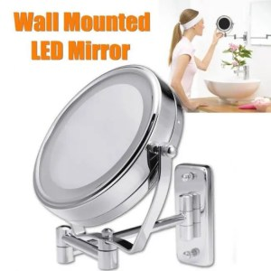 FREE SHIPPING 6″ Diameter Bathroom Shaving Makeup Mirror With LED Lights Wall Mount Two Sides Extendable Rotate Cosmetic Mirror Magnifying 7X [tag]