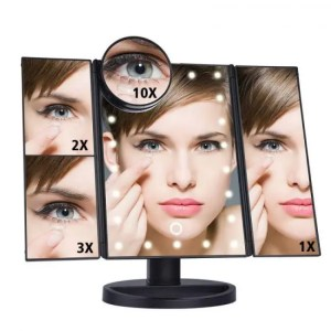 FREE SHIPPING LED Touch Screen 22 Light Makeup Mirror Table Desktop Makeup 1X/2X/3X/10X Magnifying Mirrors Vanity 3 Folding Adjustable Mirror Free shipping
