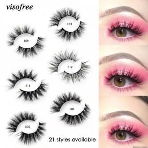 FREE SHIPPING Visofree Mink Lashes 3D Mink Eyelashes 100% Cruelty free Lashes Handmade Reusable Natural Eyelashes Popular False Lashes Makeup discount