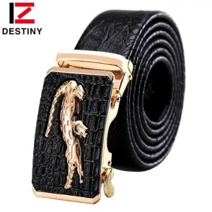 FREE SHIPPING DESTINY Designer Belts Men High Quality Male Genuine Leather Strap Luxury Famous Brand Logo Crocodile Silver Gold Ceinture Homme Belts