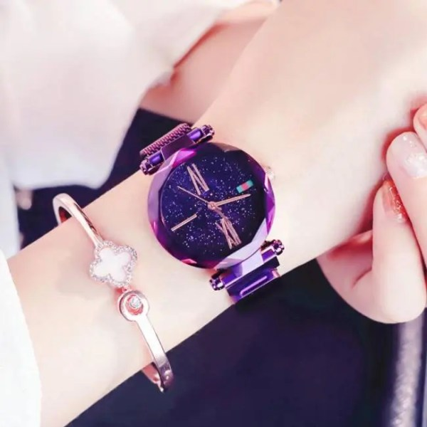 FREE SHIPPING Luxury Rose Gold Women Watches Minimalism Starry sky Magnet Buckle Fashion Casual Female Wristwatch Waterproof Roman Numeral [tag]